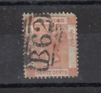 Hong Kong QV 1863 30c SG15 Fine Used J9684