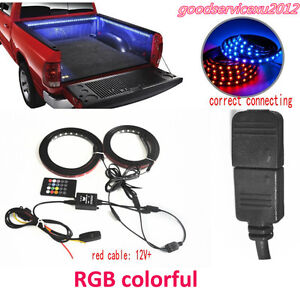 2X Car Multi-Color LED Bed Light Strip Atmosphere Lamp +Wireless Remote Control