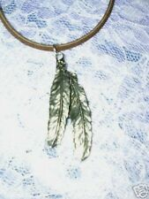 NEW DOUBLE FEATHER AMERICAN PEWTER PENDANT 22 INCH DARK BROWN SUEDE NECKLACE