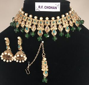 Gold & Green colour choker necklace jhumka earring tikka indian Pakistani Bridal