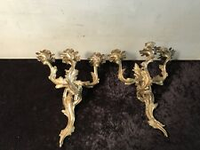 Vintage Brass Ornate Candle Sconces French Style Glo-Mar Pair