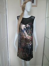 PUSSYCAT - BLACK MULTI SEQUINED, NET BUST  MINI DRESS SIZE 12 - 100%POLYESTER