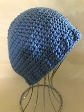 ~ NEW WOMENS Mens Crochet Beanie fitted HAT PALE BLUE Skullcap HANDMADE QLD ~