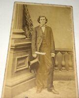 Antique Victorian American Fashion Dapper Man, Top Hat! C.1860's CDV Photo! US!