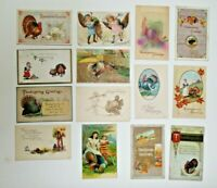 LOT OF 14 HAPPY THANKSGIVING GREETINGS ANTIQUE  POSTCARDS