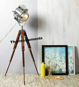 RETRO VINTAGE DESIGNER NAUTICAL SPOT LIGHT TRIPOD FLOOR LAMP HOME DECOR