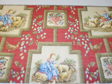 Custom made board mounted valance Cowtan And Tout fabric Pastorale print on red