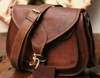 Women's Vintage Looking Brown Leather Messenger Cross Body Handmade Purse