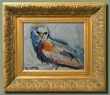 JOSE TRUJILLO Modern Art FRAMED Original Oil Painting Little Owl Impressionism