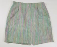NEIMAN MARCUS Women Size 18 Rainbow Tweed Skirt 100% Silk Made In USA Dead Stock
