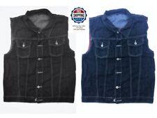Mens Blue or Black Denim Vest Jacket Sleeveless Washed Motorcycle Biker