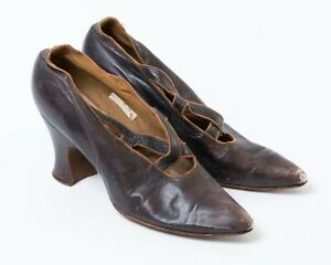 Antique Victorian Women's High Heel Shoes Brown Leather Pointed Toe Slip-on