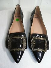 JIL SANDER WOMEN'S BLACK PATENT LEATHER BUCKLED POINTED TOE FLATS SHOES 38½ US 8