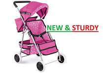 Baby Dolls Deluxe 4 Wheel Wheeler Buggy Stroller Jogger Pram Pushchair Girls Toy