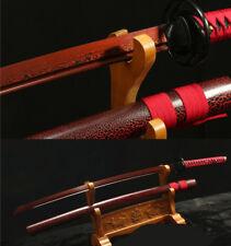 DAMASCUS FOLDED STEEL RED JAPANESE SWORD KATANA SHARP FULL TANG BLACK TSUBA