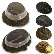 French Lace Mens Toupee Hairpiece Poly Skin PU Around Hair Replacement System US
