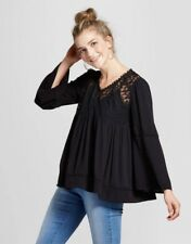 Women's Long Sleeve Embroidered Mesh Yoke Top Knox Rose Black S NWT Rayon Casual