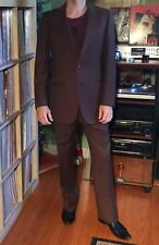 Vintage Fuso D'oro Marzotto Italian Men's 3 Pc Chocolate Brown Wool Suit Small S