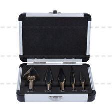 5x Cobalt HSS Step Titanium Cone Drill Hole Cutter Bit Set Tool w/ Aluminum Case