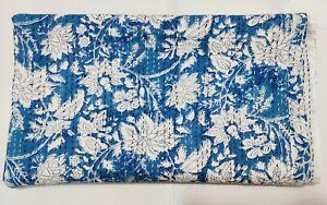 Indian Hand Block Print Kantha Quilt Bedspread Blanket Cotton Coverlet Bedding V