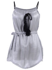 Ali-Market S/M Fit Grey Metallic Sheen Twist Rope Straps and Tie Bodice Dress