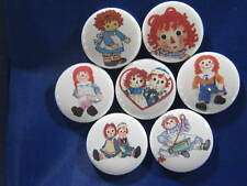 "RAGGEDY ANN & ANDY 2.25"" diameter FAVORITE 7 NEW PINS BUTTONS BADGE"