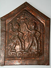 ANCIENNE PLAQUE VOTIVE EN CUIVRE INDE XIXéme