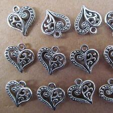 20PC 14*15mm Heart-shaped Tibet Silver Dangle Charm Two-sided Beads PJ29