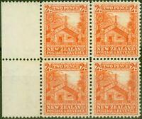 New Zealand 1941 2d Orange SG580c P.14 V.F MNH Block of 4
