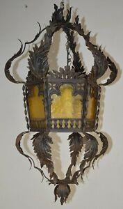 ENORME ANTICA LANTERNA FERRO BATTUTO CASTELLO epoca 1800 OLD IRON HANGING LAMP