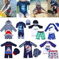 Kids Boys Shark Swimsuit Swimwear UV Sun Protection Swimming Rash Guard Costumes
