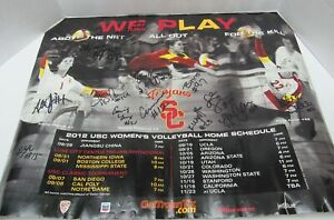 2012 SIGNED USC Women's Volleyball Home Schedule Poster TROJANS 21.7x17