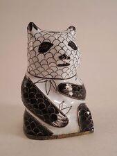 Vintage Cloisonne Metal Enameled Fish Scale Pattern Black & White Panda Figurine
