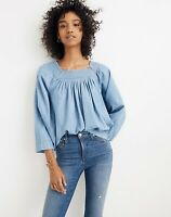 NEW Madewell Women's Blue Denim Chambray Square Neck Peasant Top Size X-Small