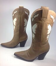 Women's Diba Tan Leather Butterfly Point Toe Pull On Heel Cowboy Boots Sz.8.5