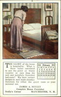 Woman Making Bed Furniture Advert Manchester NH Scully's Corner Postcard
