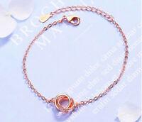 Rose Gold Round Heart 925 Sterling Silver Bracelet Womens Jewellery Love Gift UK