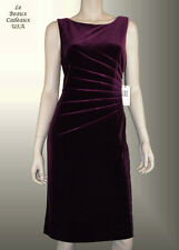 IVANKA TRUMP Women Dress VELVET Size 10 PLUM Knee Sleeveless Dressy LBCUSA
