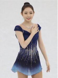 Marvellous Ice Skating Adult Figure skating Dress Gymnastics  Costume Blue W106