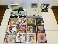Sega Saturn white console + 2 controllers + Shuttle mouse +13 games set SS Japan
