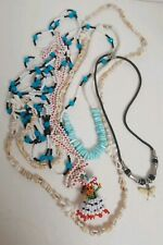 5 Colorful Blue White Seed Beed Shell Shark Tooth Stone Necklace Mexico Hawaii