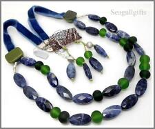 JanArt DESIGNER Fused Glass Blue Stone Necklace & Earring Set With 925 Clasps