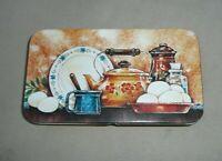 Vintage The Tin Box Company Rectangle Hinged Tea Kettle Still Life Tin Box