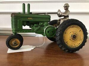 Vintage John Deere Arcade A Tractor Cast Iron Nickel Man Excellent Condition