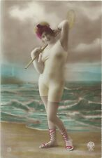 Old French hand tinted real photo postcard bathing beauty nude 1920s RPPC #394