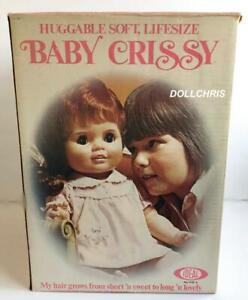 "1973 Ideal 24"" BABY CRISSY SOFT LIMBS Grow Hair Life Size Doll Sears Version Box"