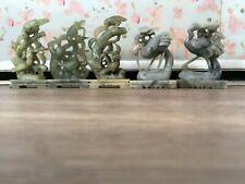 Chinese Stone Birds Heron Crane Set of 5 Figurines