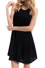 USA Women Scoop Neck Dress Tunic A-Line Long Tank Top Sleeveless Flared S M L