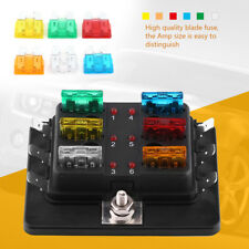 6 Way Circuit Blade Fuse Box Block Holder w/LED Warning Light Kit For Car Van