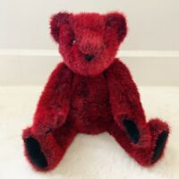 The Vermont Teddy Bear Company Red Black Bear Plush Posable Stuffed Animal 18""